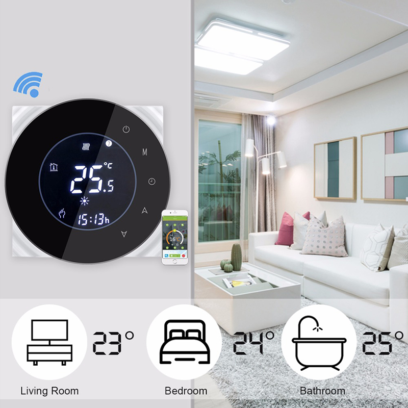 BHT-6000-GBLW Water Floor Heating LCD Touch Screen Wifi Thermostat With Remote Control Works With Alexa Google Home IFTTT