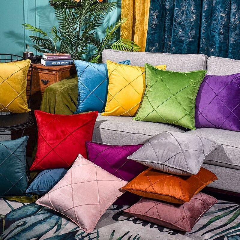Modern Fashion Color Candy Velvet Cushion Cover Blue Gray Yellow Pink Pillow Cover Pillowcase Home Decorative Sofa Throw Pillows