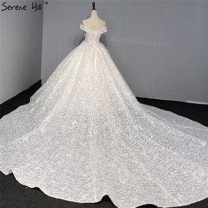 Image 2 - Sequined Sparkle Off Shoulder Bride Gown 2020 Ivory Luxury Vintage Sleeveless Sexy Wedding Dresses BHA2317 Couture Dress