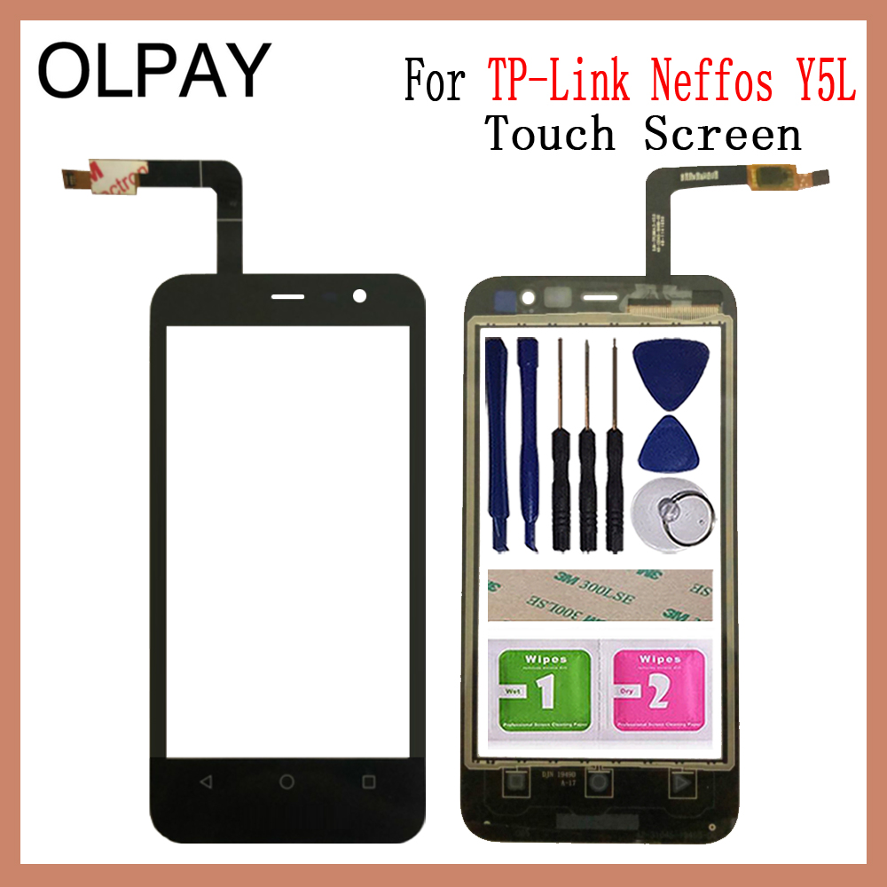 OLPAY 4.5 Inch Mobile Phone Touchscreen For TP-Link Neffos Y5L Touch Screen Digitizer Front Glass Sensor Free Adhesive+Wipes