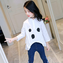 лучшая цена Baby Toddler Teenage Clothes Black Polka Dot Red White Girls Shirts Kids Children Ruffles Striped Long Sleeve Girl Tops Blouse