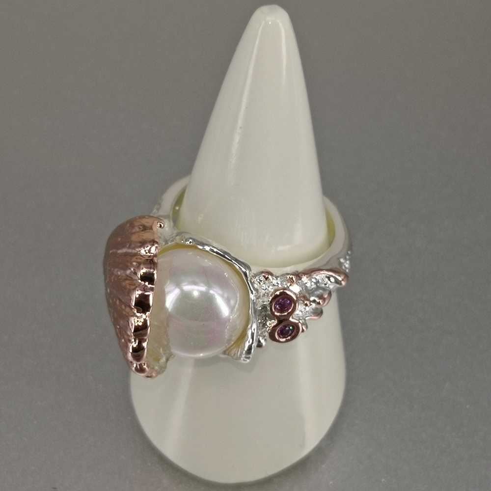Dreamcarnival 1989 nova chegou anel de casamento feminino pérola dentro do escudo rosa cor prata ouro cz moda jóias deve ter wa11773