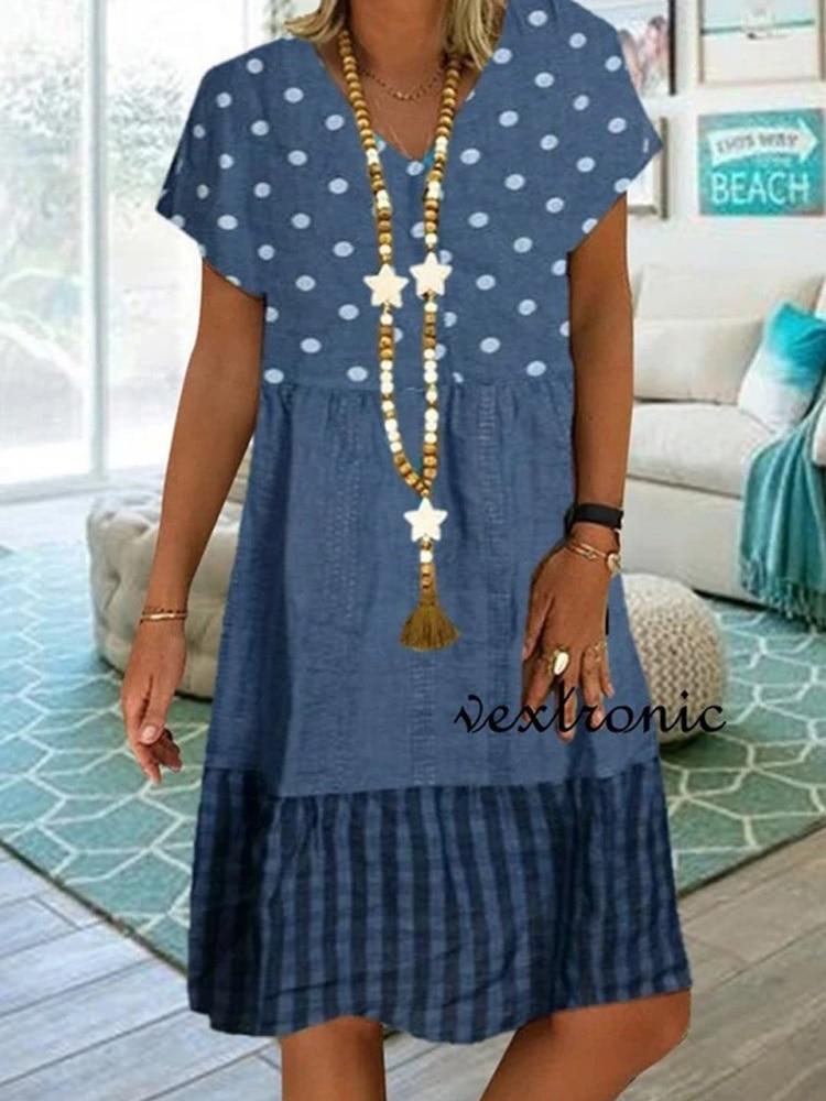 Big size dress women summer dress Loose short sleeve V neck polka dot patchwork printed dresses plus size women clothing dress