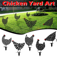 top selling Chicken Yard Art Outdoor Garden Backyard Lawn Stakes Metal Hen Yard Decor Gift Support Wholesale and Dropshipping