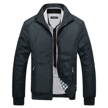 Puimentiua Mens Jacket Stand Collar Solid Color Zip Spring and Autumn Casual Business new