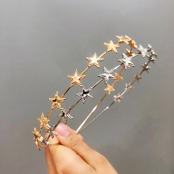 AWAYTR Fashion Gold Sliver Metal Star Hairband for Women Sweet Wedding Hair Accessories Tiara Elegant Girls Headband Headwear image