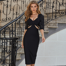 Bandage Dress Adyce Mid-Sleeve Vestidos Party Bodycon Black Hollow-Out Sexy v-Neck Women
