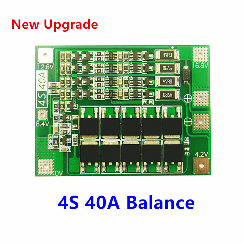 Balance 18650 BMS 4S 40A Li-ion Lithium Battery  Charger PCB BMS Protection Board For Drill Motor 14.8V 16.8V Lipo