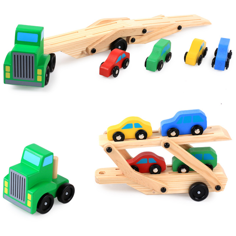 5pcs Wooden Double Decker Truck Toy Transport Carrier Truck  + 4 Cars, Simulation Toy Car Model For Children Kids Birthday Gifts