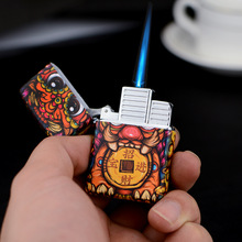 цена на 2019 NEW Chinese Style Compact Butane Jet Lighter Torch Turbo Lighter Gas 1300 C Windproof Cigar Lighters Blue Fire No Gas