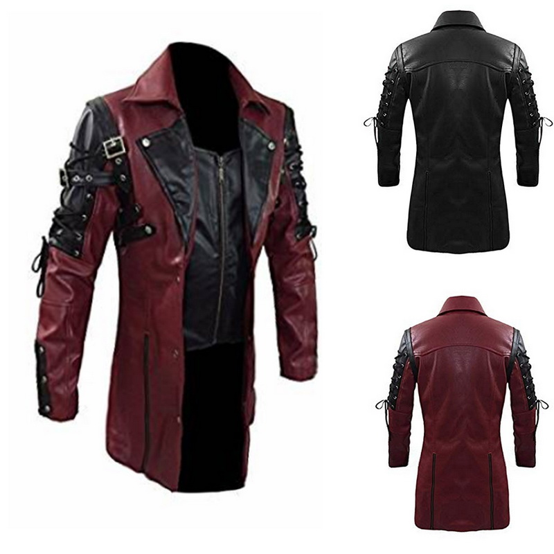 2019 Men Faux Leather Jackets Autumn Fashion Steampunk Gothic Turn Down Collar Motorcycle Jackets Male Zippers Leather Coat 3XL