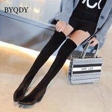 Женские ботфорты на массивном каблуке byqdy обтягивающие сапоги