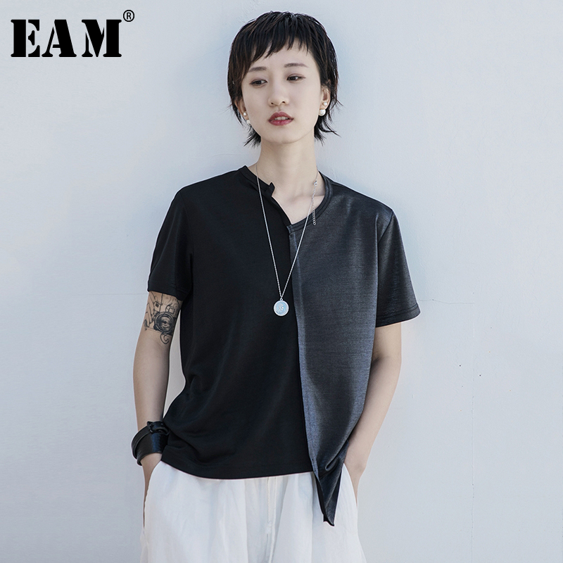 [EAM] Women Black Contrast Color Split Hem Asymmetrical T-shirt New V-Neck Short Sleeve Fashion Tide  Spring Summer 2020 1S67