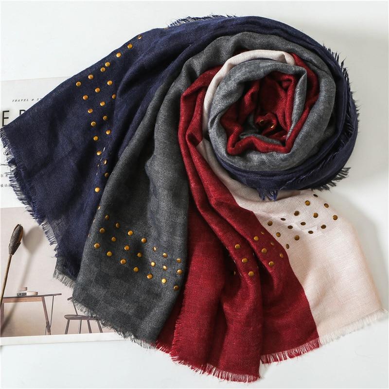 KYQIAO accesorios mujer платок женский women's autumn winter South Korea long red patchwork head scarf muffler cape