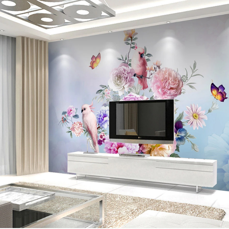 Papel De Parede Custom Pastoral Hand Painted Floral European Style 3D Stereoscopic Embossed Rose TV Background Decor Wallpaper