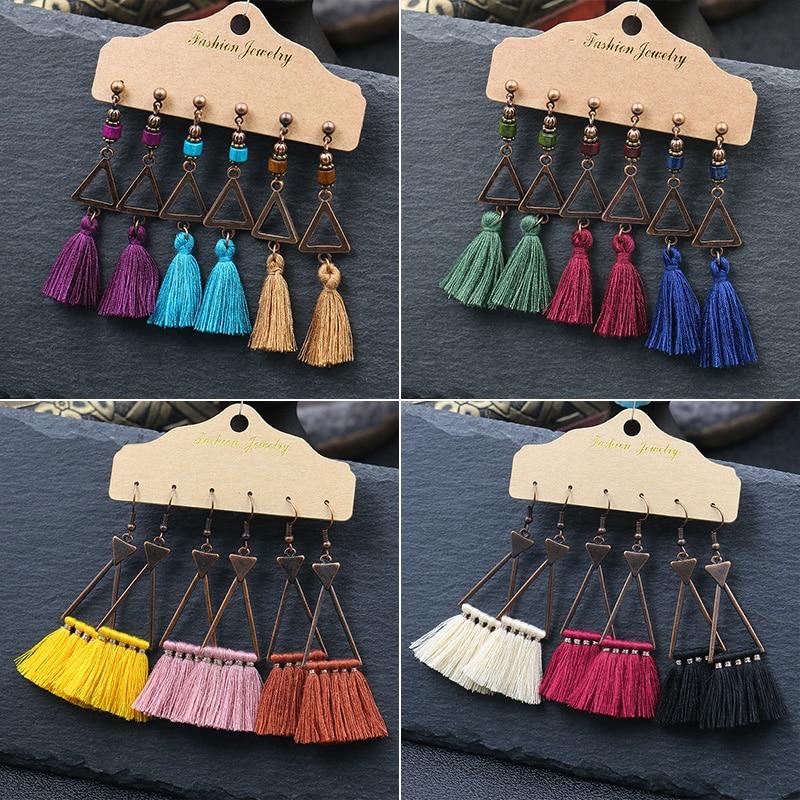 Big Colorful Tassel Earrings