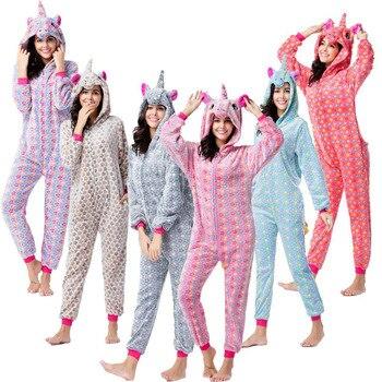 Adults Animal Pajamas Sets Sleepwear Cosplay Zipper Women Men Winter Unicornio Cartoon Unicorn