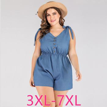 2020 summer plus size Jumpsuit for women large loose casual sleeveless off shoulder V neck short jumpsuits blue 4XL 5XL 6XL 7XL
