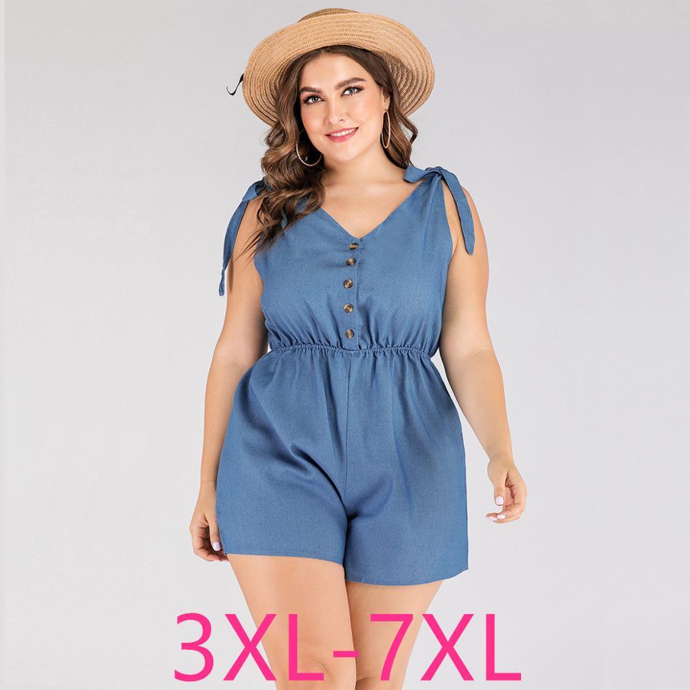 2020 Summer Plus Size Jumpsuit For Women Large Loose Casual Sleeveless Off Shoulder V Neck Short Jumpsuits Blue 4XL 5XL 6XL 7XL