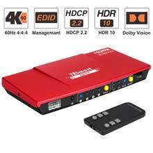 Hdmi switch 4 em 1 para fora com s/pdif e l/r suporte de saída de áudio hdtv 4k @ 60hz 4:4:4 ir controle remoto