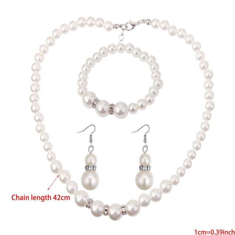 Женский свадебный искусственный жемчуг кристаллы ожерелье серьги браслет комплект ювелирных изделий