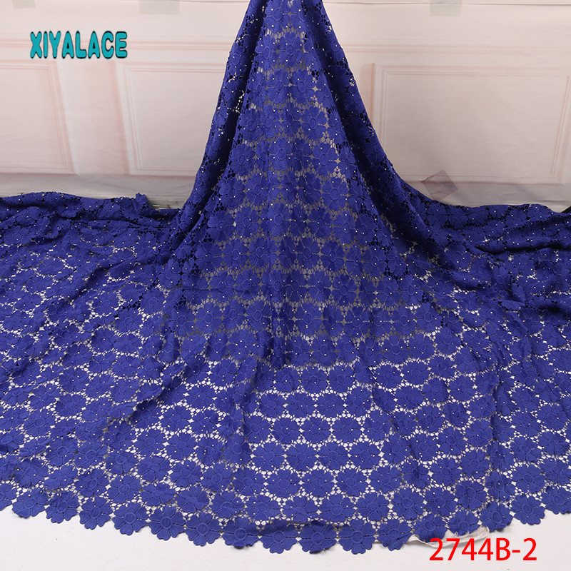 African Lace Fabric 2019 Hot Sale African Milk Cord Lace Fabric With Stones High Quality Wedding Nigerian Lace Fabric YA2744B-2