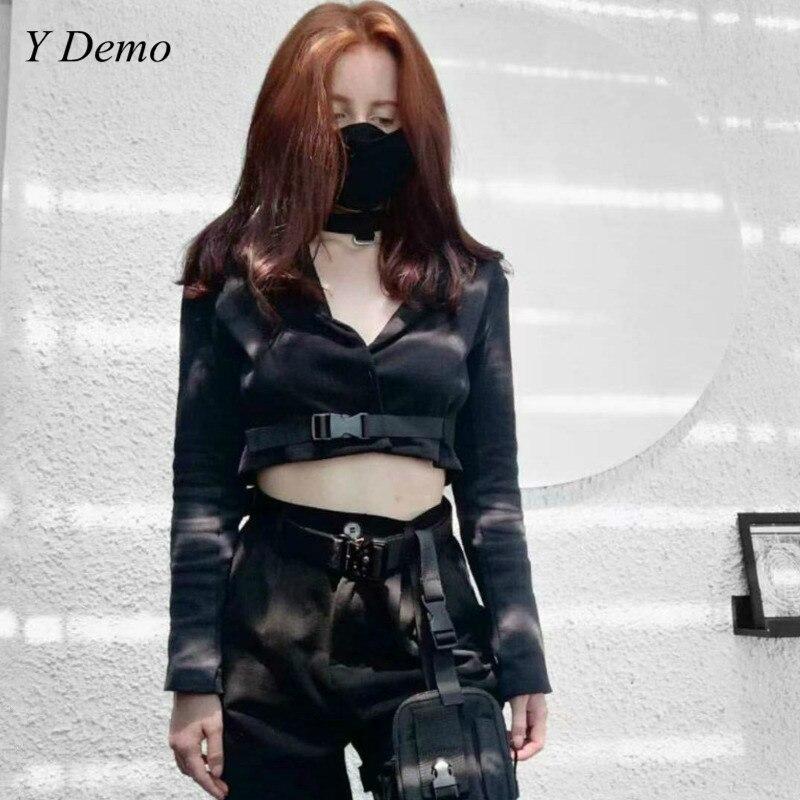 New Black Women Short Blazer Harajuku Buckle Strap Long Sleeve V-neck Jacket