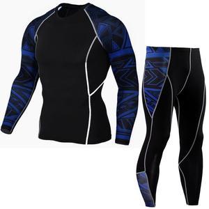 Image 5 - tactical mma rash guard long sleeves Mens fitness compression clothing tracksuit Men T shirt leggings Jogging suit Sport suit