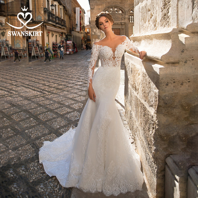 Sweetheart Mermaid Wedding Dress Vintage Long Sleeve Illusion  Court Train Swanskirt GI27 Bridal Gown Princess Vestido de novia