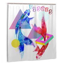 Очаровательный дом я знак зодиака Рыбы Графический пластиковый душ занавес 66x72 в индивидуальные ванная комната декоративные водонепроницаемый полиэстер