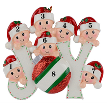 Joy Family Members of 7 Personalized Christmas Holiday Ornaments
