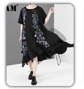 [EAM] 2020 New Spring Lapel Long Sleeve Solid Color Black Gray Split Joint Loose Big Size Jacket Women Fashion JC969 29