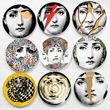 Moda senhora facial retrato decorativo pendurado placas redondo beleza face bandeja prato cerâmica senhora retrato artesanato decoração