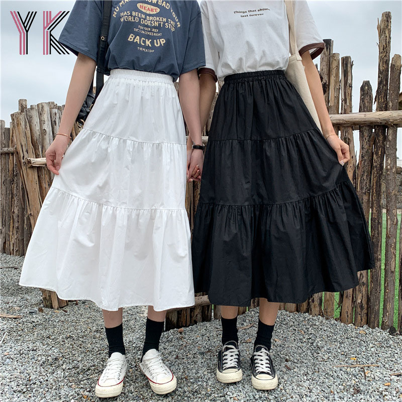 Spring Summer Midi Long Skirt For Girls Maxi High Waist Women Solid White Pleated Cake A-Line Skirts Women Clothes 2021