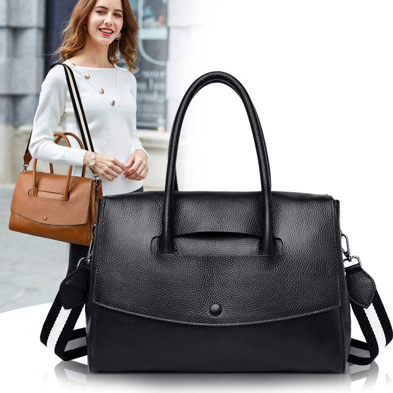 Bag female 2020 new leather cross - body bag female bag large capacity first layer cowhide 100 go with middle-aged woman bag