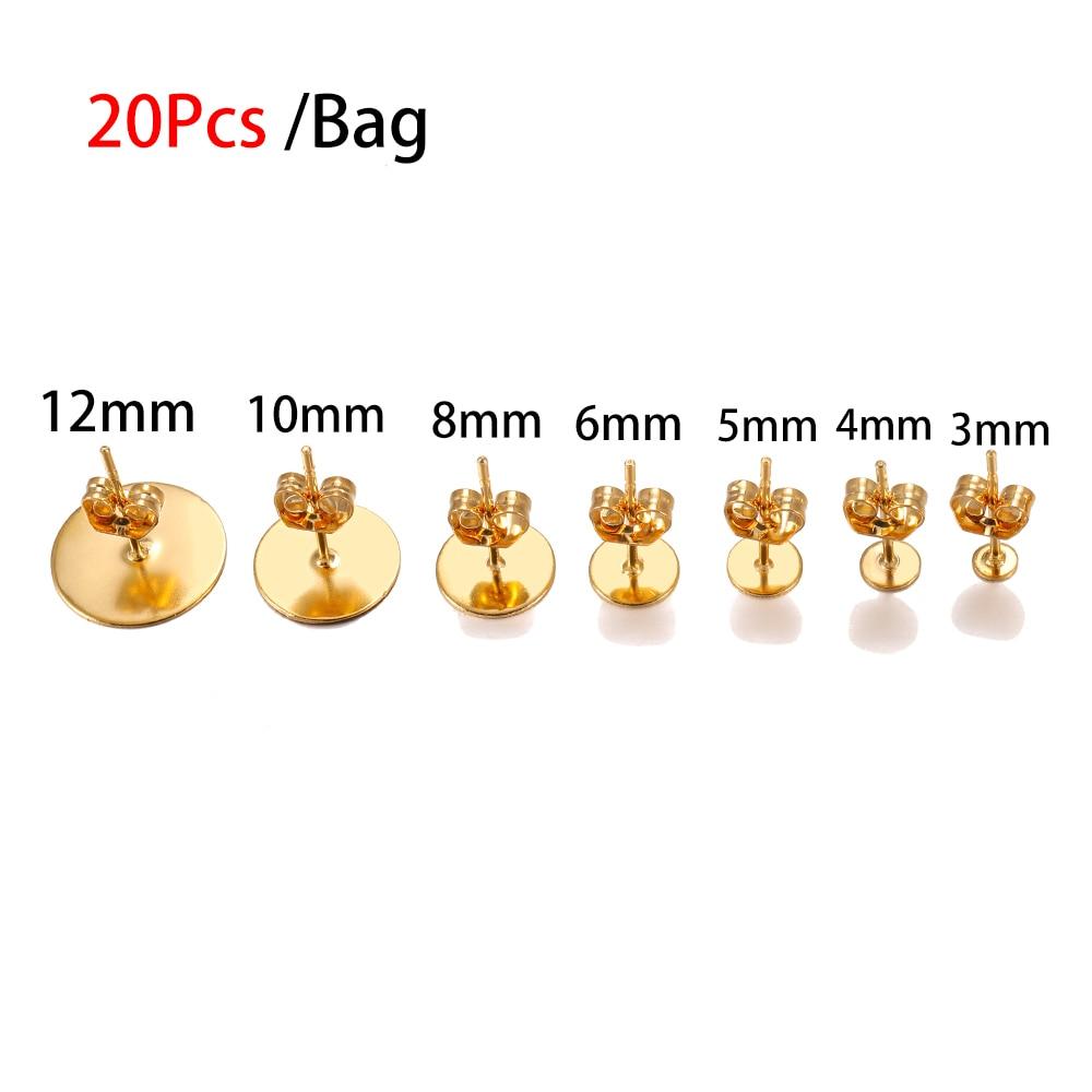 100pcs lot 3 4 5 6 8 10 12mm Stainless Steel Blank Post Earring Stud Base