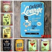 Cocktail Lounge Cuban Margarita Retro Metal Tin Signs Mojito Caipirinha Sticker Cosmopolitan Brand Beer Iron Poster