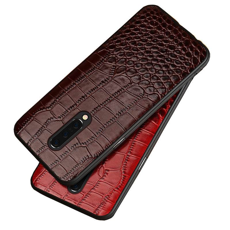 Genuine Leather Case For <font><b>Oneplus</b></font> 7 pro 7t 7Tpro Phone case back cover for 5 5T <font><b>6</b></font> luxury Shockproof <font><b>Smartphone</b></font> crocodile Garin image