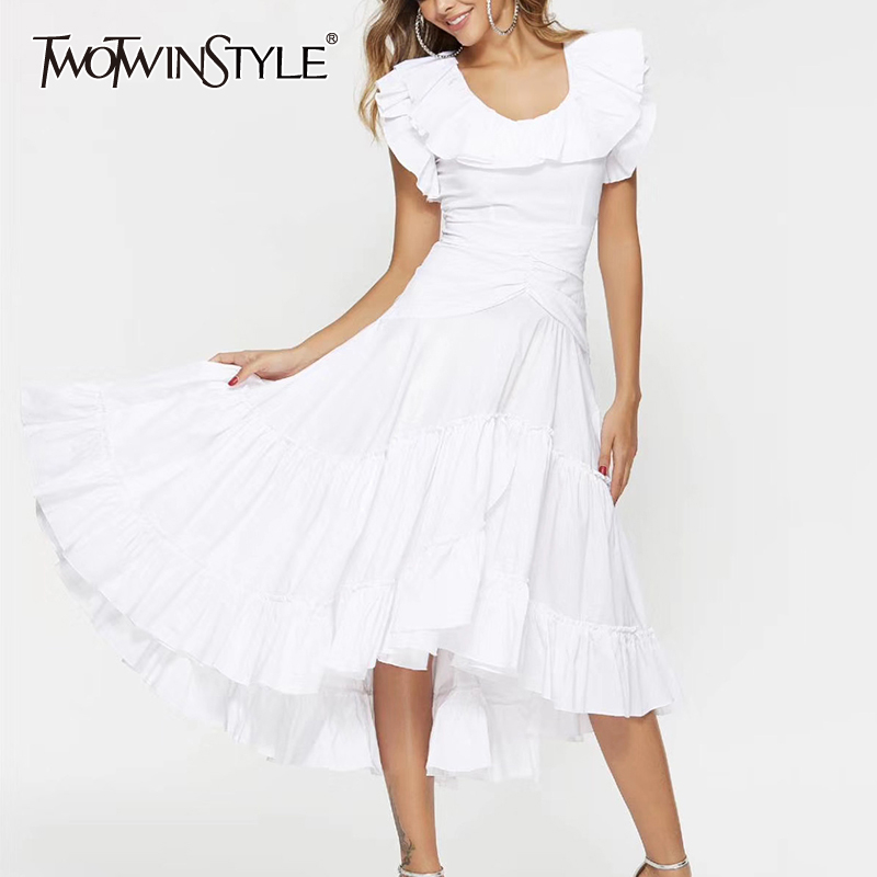 TWOTWINSTYLE Casual Patchwork Ruffles Women Dress O Neck Butterfly Short Sleeve High Waist Ruched Dresses Female Clothes Fashion