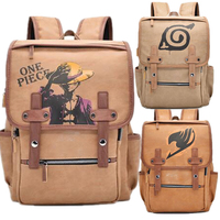 Anime One Piece Monkey·D·Luffy Naruto Backpack Bag Waterproof PU Leather School Bag Boys Girls Kids Book School Travel Bag Gift