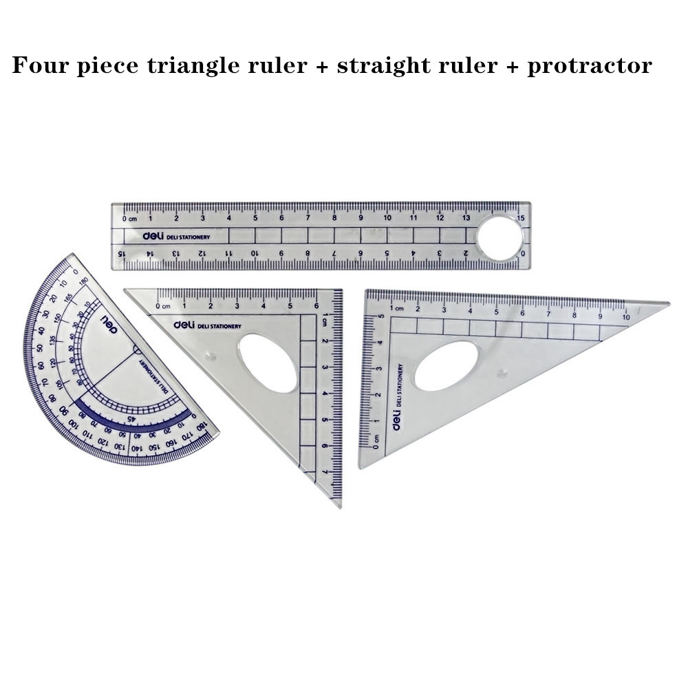 Deli School Office Supplies Student Drawing Multi-functional Combination Ruler + Triangle Ruler + Protractor 4-piece Set