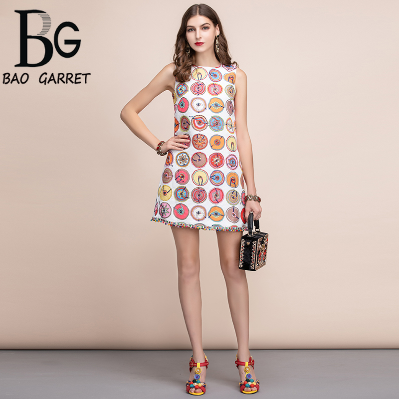 Baogarret Women Spring Summer Dress Runway Fashion Designer Sleeveless Vintage Printed Elegant Slim Jacquard Lady Dresses
