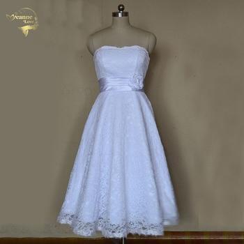 Vestidos Robe de Soiree 2020 New Design A Line Tea Length Sweetheart White Ivory Lace Beach Wedding Dresses OW2041