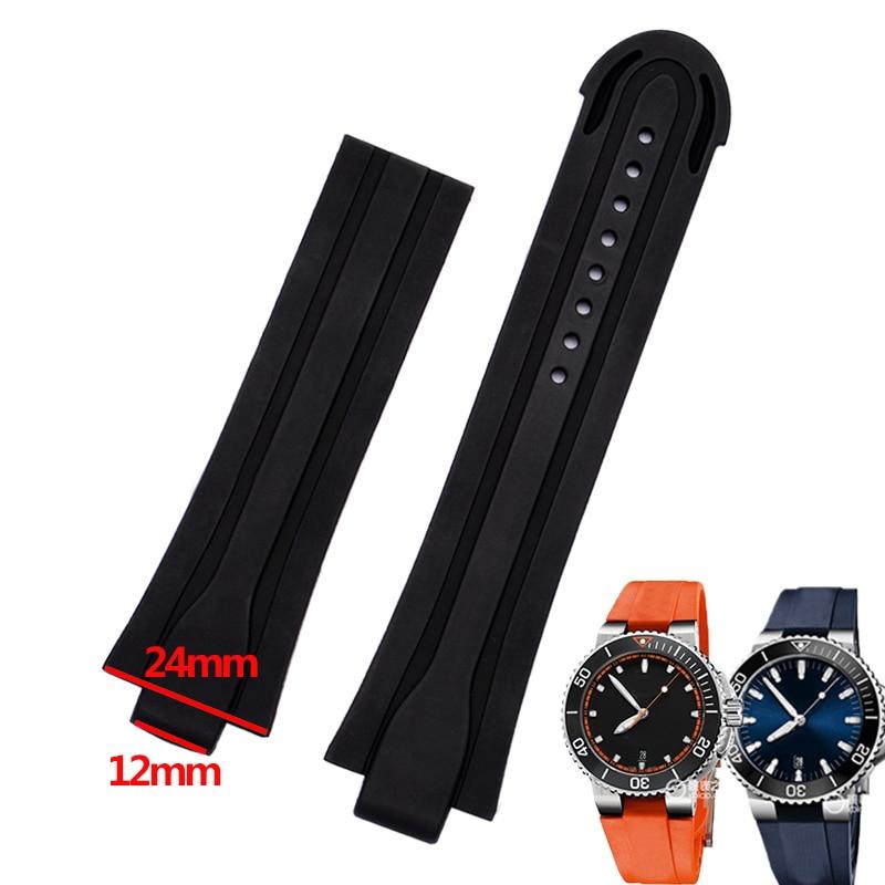 shengmeirui Convex interface diving silicone rubber strap FOR ORIS AQUIS series 0173/7730/7740 men's sports watch belt|Watchbands| |  - title=