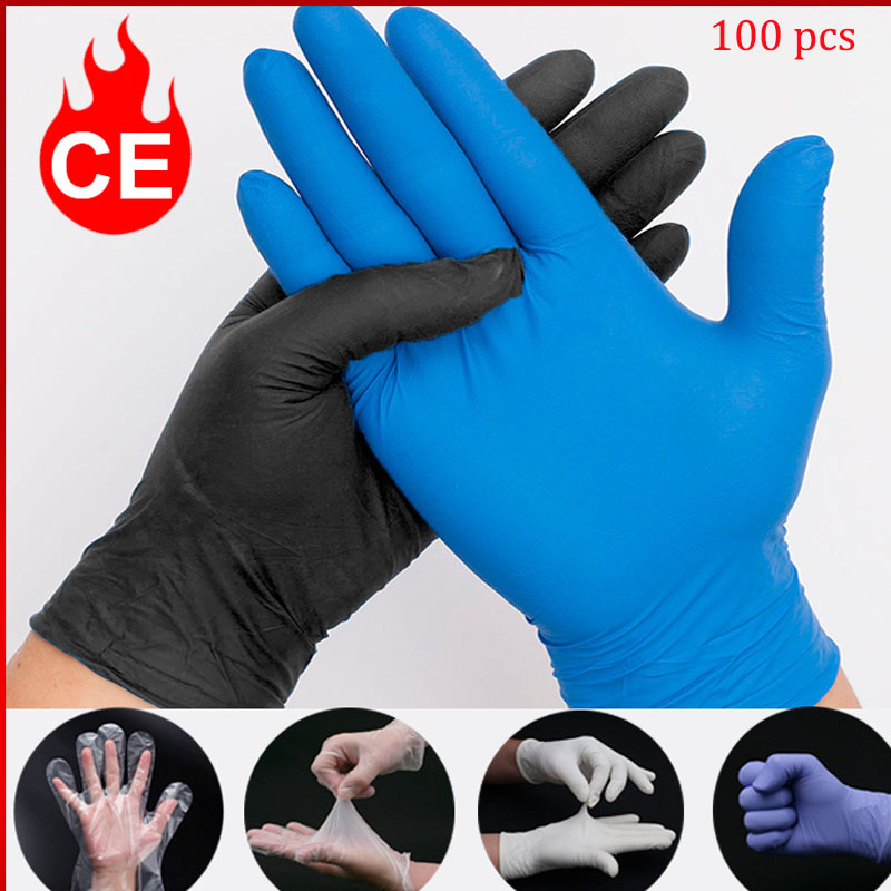 100PCS Disposable Gloves Wear Resistance Nitrile Food Testing Household Cleaning Washing Gloves Home Cleaning Anti Static Gloves|Household Gloves| |  - title=