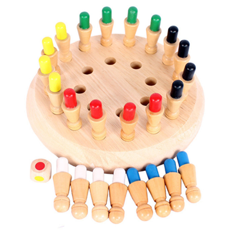 Kids Wooden Memory Match Stick Chess 3D Puzzle Toys Party Game Board Early Educational Color Cognitive Ability Wood Toy Children