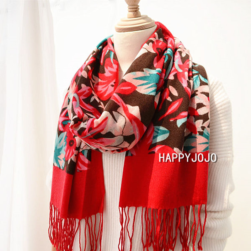 100% Cashmere Shawl High Quality Orange Painted Flower Scarf Thin Chic Soft Fashion Casual Pashmina Luxury Gift For Women Lady