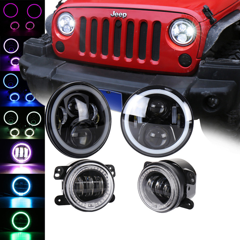 The Vectra Combination Suit 7 Inch Jeep Wrangler RGB Headlight 4 Inch 30 W RGB Fog Lamps Fog Lamps 50 W Lamps