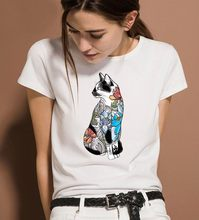 2019 new fashion printing women's T-shirt personality T-shirt cat new summer thin section white shirt female T-shirt clothing(China)