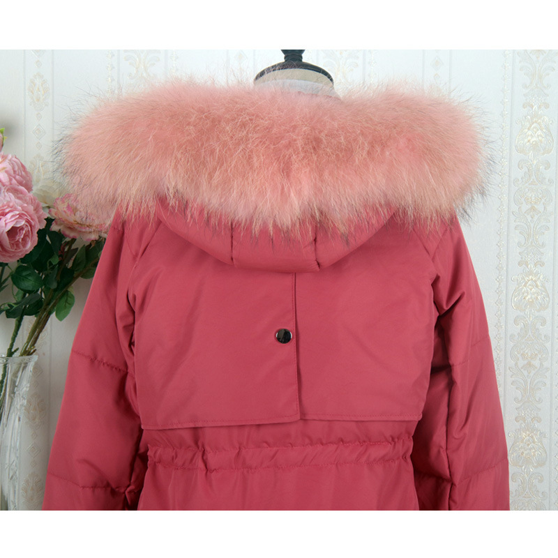 Women Winter Down Jacket Long Down Coat Female Large Fur Hooded Warm Clothes Thick Slim Jackets Ladies Clothing 1819W1254